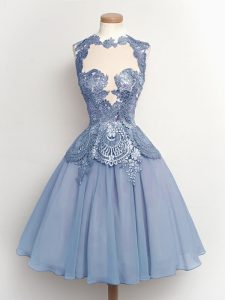 Glittering Knee Length Lace Up Quinceanera Court of Honor Dress Light Blue for Prom and Party and Wedding Party with Lace