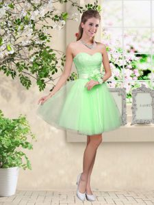 Most Popular Sleeveless Lace Up Knee Length Lace and Belt Quinceanera Dama Dress