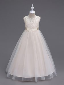Sleeveless Floor Length Lace Zipper Kids Formal Wear with Champagne