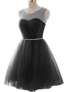 Vintage Black Scoop Lace Up Beading and Ruching Teens Party Dress Sleeveless