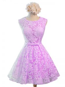 Best Lace Scoop Sleeveless Lace Up Belt Dama Dress in Lilac