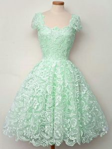 New Style Knee Length Apple Green Dama Dress Lace Cap Sleeves Lace