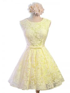 Chic Yellow Lace Lace Up Court Dresses for Sweet 16 Sleeveless Knee Length Belt