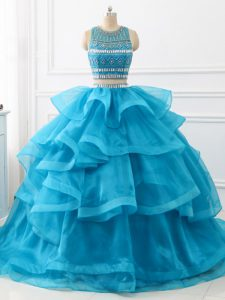High Class Beading and Ruffles Quinceanera Gowns Baby Blue Backless Sleeveless Brush Train
