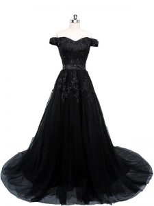 Deluxe Black Tulle Lace Up Off The Shoulder Sleeveless Prom Dress Brush Train Beading and Lace and Appliques