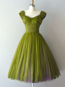 Luxury Cap Sleeves Chiffon Knee Length Lace Up Court Dresses for Sweet 16 in Olive Green with Ruching