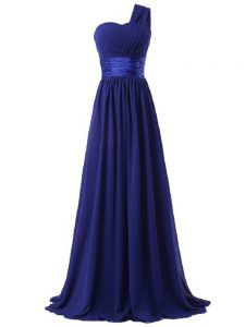 Dazzling Sleeveless Lace Up Floor Length Ruching Quinceanera Court of Honor Dress