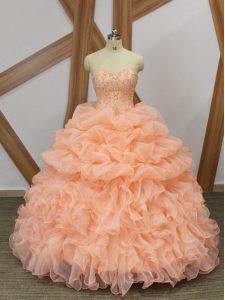 Ball Gowns Sleeveless Peach Vestidos de Quinceanera Sweep Train Lace Up