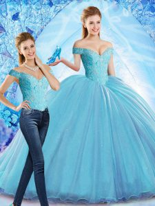 Baby Blue Off The Shoulder Neckline Beading Sweet 16 Dresses Sleeveless Lace Up