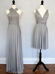 Customized Grey Sleeveless Chiffon Lace Up Quinceanera Dama Dress for Prom and Party and Wedding Party
