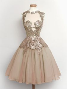 Super A-line Quinceanera Court of Honor Dress Brown High-neck Chiffon Sleeveless Knee Length Lace Up