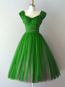 Cute Cap Sleeves Chiffon Knee Length Lace Up Quinceanera Dama Dress in Green with Ruching