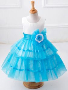 Sleeveless Tea Length Ruffled Layers and Hand Made Flower Zipper Pageant Gowns with Baby Blue