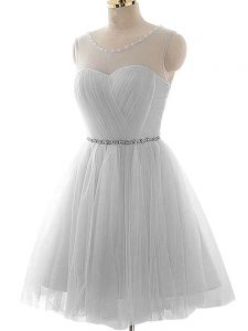 Grey Prom Party Dress Prom and Party and Sweet 16 with Beading and Ruching Scoop Sleeveless Lace Up