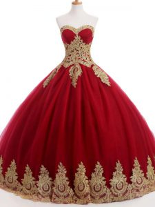 Sweet Wine Red Lace Up Quinceanera Dress Ruffles and Sequins Sleeveless Floor Length