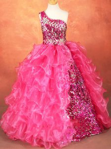 Floor Length Hot Pink Little Girl Pageant Gowns Organza Sleeveless Beading and Ruffles and Sequins