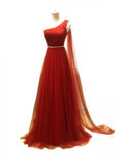 Pretty Zipper Evening Party Dresses Rust Red for Prom and Sweet 16 with Beading and Ruching Brush Train