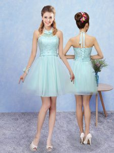 Aqua Blue Halter Top Lace Up Lace Dama Dress for Quinceanera Sleeveless