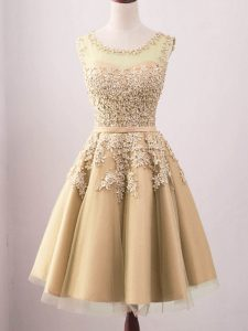 Gold Lace Up Court Dresses for Sweet 16 Lace Sleeveless Knee Length