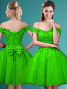 A-line Tulle Off The Shoulder Cap Sleeves Lace and Belt Knee Length Lace Up Quinceanera Dama Dress