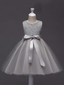 Lace and Belt Little Girl Pageant Gowns Grey Zipper Sleeveless Knee Length