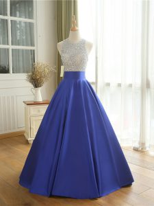 Fine Floor Length Backless Prom Gown Blue for Prom and Military Ball with Beading