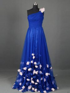 Traditional Sleeveless Tulle Floor Length Side Zipper Dress for Prom in Royal Blue with Beading and Hand Made Flower