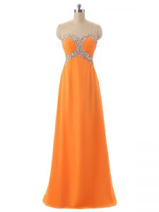 Comfortable Orange Prom Party Dress Prom and Military Ball and Beach with Beading and Ruching Sweetheart Sleeveless Lace Up