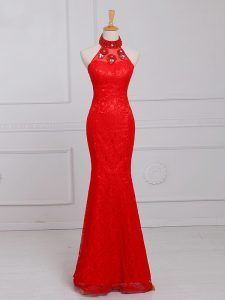 Elegant Red Lace Zipper Evening Dresses Sleeveless Floor Length Beading and Lace