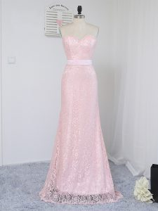 Sweet Floor Length Baby Pink Quinceanera Court Dresses Lace Sleeveless Lace