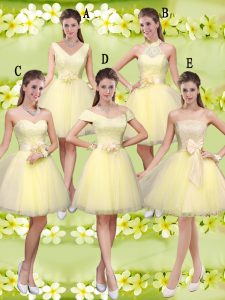Tulle Sleeveless Knee Length Dama Dress for Quinceanera and Lace and Belt