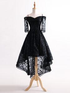 Charming Black Cocktail Dresses Prom and Party and Sweet 16 with Lace Straps Half Sleeves Lace Up