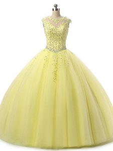 Amazing Yellow Sleeveless Floor Length Beading and Lace Lace Up Ball Gown Prom Dress
