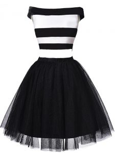 Clearance White And Black Off The Shoulder Zipper Ruching Homecoming Dresses Sleeveless
