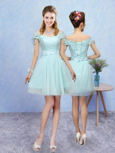 Sumptuous Aqua Blue Damas Dress Prom and Party with Lace V-neck Short Sleeves Lace Up