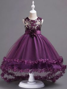 Glorious Dark Purple Tulle Zipper Scoop Sleeveless High Low Pageant Dress for Girls Appliques and Hand Made Flower