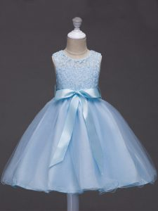 Scoop Sleeveless Pageant Dress for Womens Knee Length Lace and Belt Light Blue Tulle