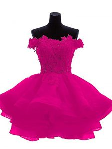 Sleeveless Organza Mini Length Zipper Womens Party Dresses in Fuchsia with Beading and Lace and Appliques and Ruffles