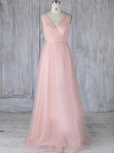 Free and Easy Baby Pink Empire V-neck Sleeveless Tulle Floor Length Zipper Lace Damas Dress