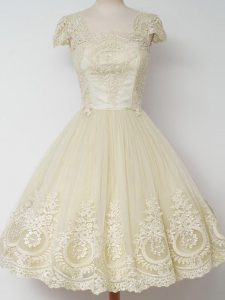 Pretty Light Yellow Tulle Zipper Square Cap Sleeves Knee Length Quinceanera Court Dresses Lace