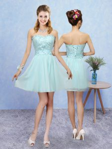 Graceful Aqua Blue Quinceanera Court Dresses Prom and Party with Appliques Sweetheart Sleeveless Lace Up