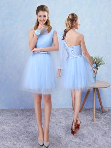 Aqua Blue Sleeveless Tulle Lace Up Vestidos de Damas for Prom and Party