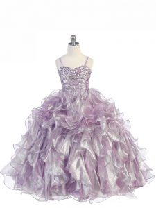 Sleeveless Floor Length Beading and Ruffles Lace Up Winning Pageant Gowns with Lavender