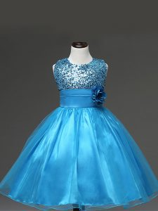 New Style Scoop Sleeveless Zipper Winning Pageant Gowns Baby Blue Tulle