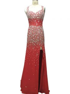 Excellent Burgundy Sleeveless Brush Train Beading Formal Evening Gowns