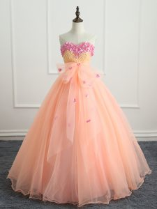 Luxury Floor Length Peach Sweet 16 Dresses Sweetheart Sleeveless Lace Up