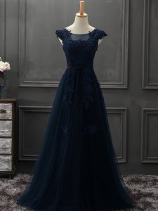 Sumptuous Navy Blue Sleeveless Mini Length Beading and Lace and Appliques Lace Up Prom Dress