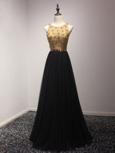 Black Sleeveless Floor Length Beading and Lace and Appliques Lace Up Prom Gown