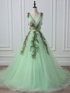 Tulle Sleeveless Homecoming Dress Court Train and Belt and Hand Made Flower