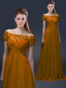 Latest Off The Shoulder Short Sleeves Chiffon Prom Party Dress Appliques Lace Up